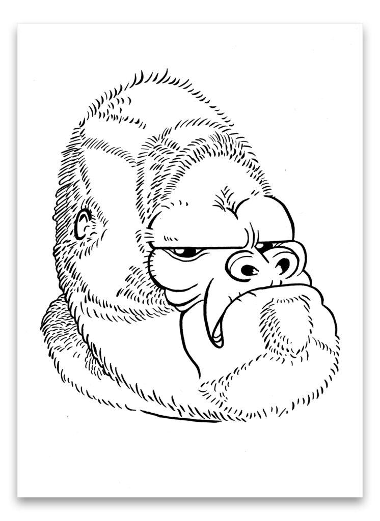 Pentekening van gorilla