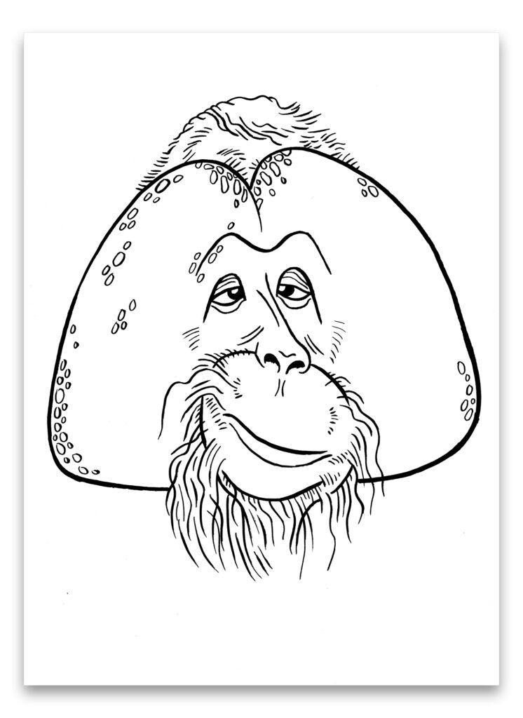 Pentekening van orang-oetan